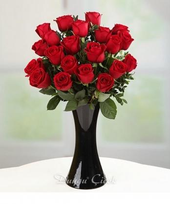 21 Kırmızı Gül-Siyah Cam Vazoda