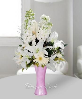 Beyaz İnci-Vazoda Beyaz Mevsim Çiçekleri